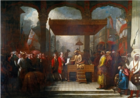 Mughal ruler and east india company colour